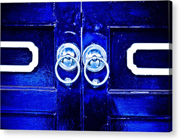 Temple Acrylic Print featuring the photograph Blue Temple Doors by Joe Carini