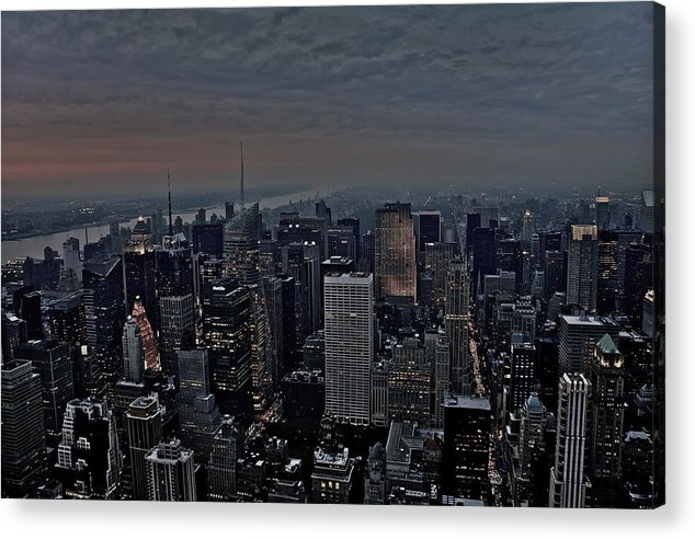 Land Scape Of New York City Acrylic Print featuring the photograph Empire State Of Mind by Brian Cruz