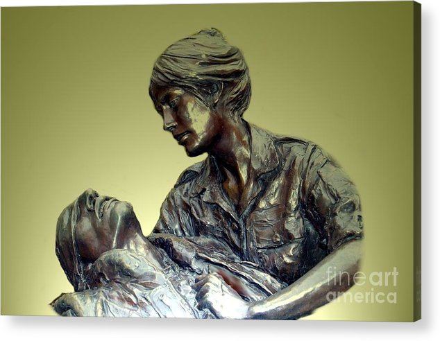 Vietnammemorial Acrylic Print featuring the painting On The Mall by Adele Pfenninger