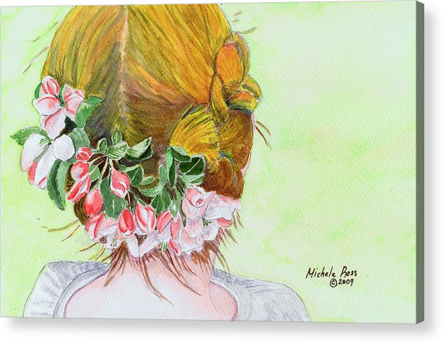 Watercolor Acrylic Print featuring the painting Red Hair And Apple Blossoms by Michele Ross