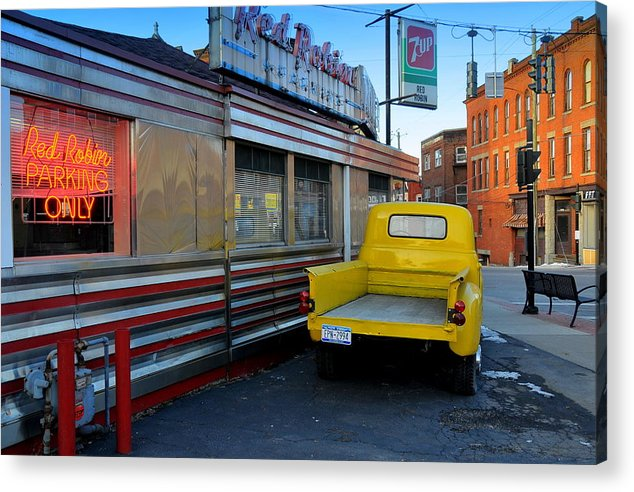 Street Scene Acrylic Print featuring the photograph Yellow Truck by Randy Cummings