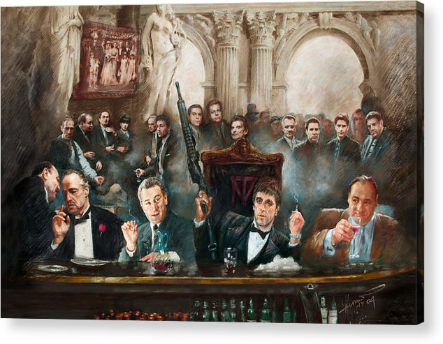 Gangsters Acrylic Print featuring the mixed media Make Way For The Bad Guys Col by Ylli Haruni