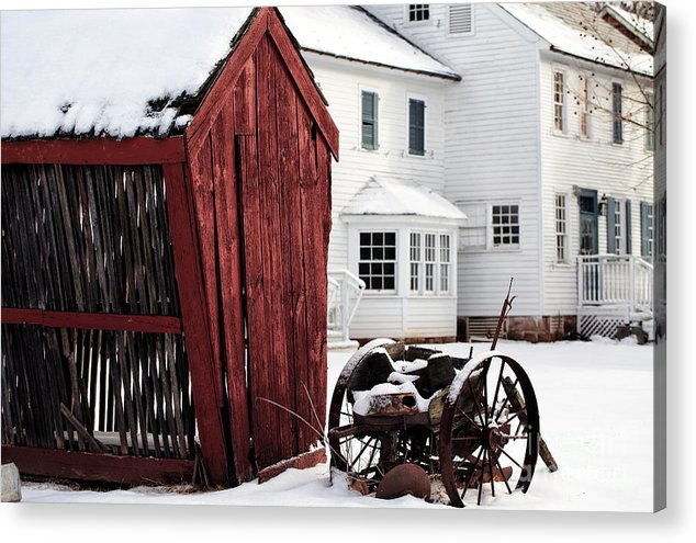 Red Barn In Winter Acrylic Print featuring the photograph Red Barn In Winter by John Rizzuto