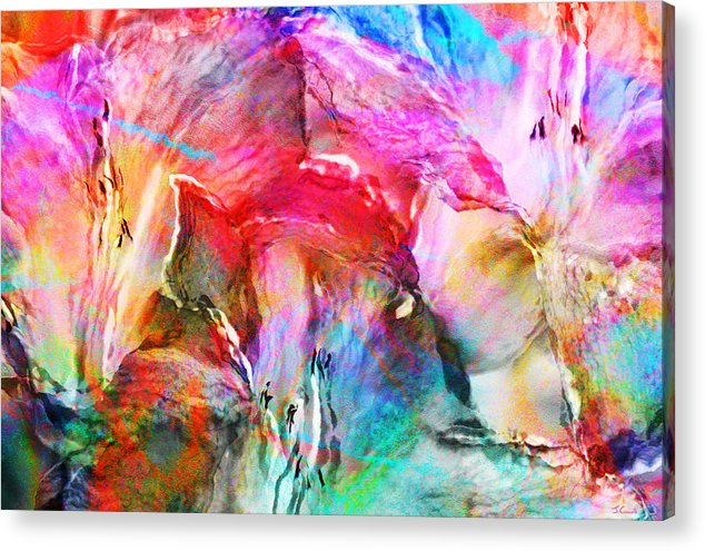Large Abstract Acrylic Print featuring the painting Somebody's Smiling - Abstract Art by Jaison Cianelli