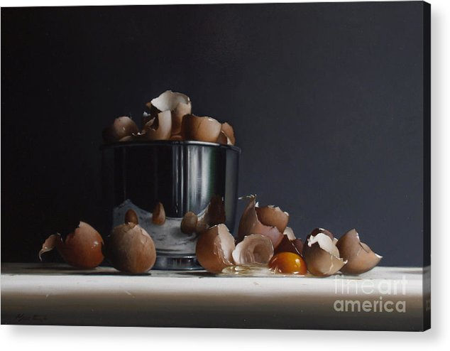 Still Acrylic Print featuring the painting Mixing Bowl With Eggs by Lawrence Preston