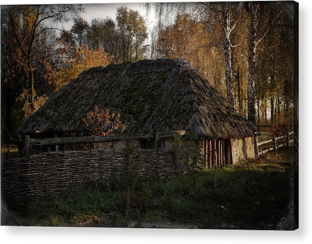 Nature. Landscape . View . Autumn . Village. Architecture. Ukrai Acrylic Print featuring the photograph Pirogovo by Oleg Karataev
