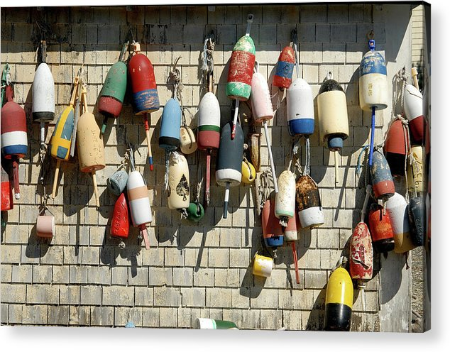 Maine Acrylic Print featuring the photograph Lobster Buoys by David Campione