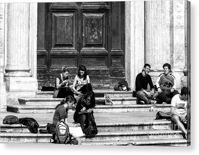 Study Break In Rome Acrylic Print featuring the photograph Study Break In Rome by John Rizzuto