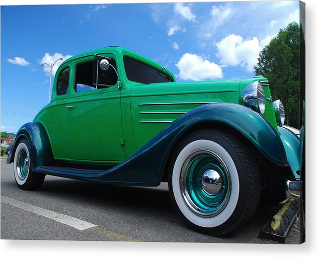 Street Scene Acrylic Print featuring the photograph Vintage Green Roadster by Randy Cummings