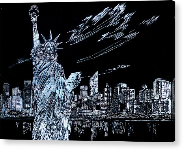 Cities Acrylic Print featuring the drawing New York New York New York by Saad Hasnain