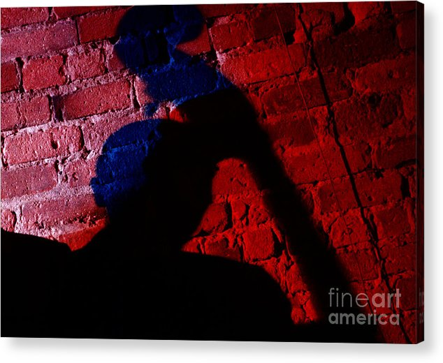 Cafe Au Go Go Acrylic Print featuring the photograph Silhouette Of A Jazz Musician 1964 by The Harrington Collection