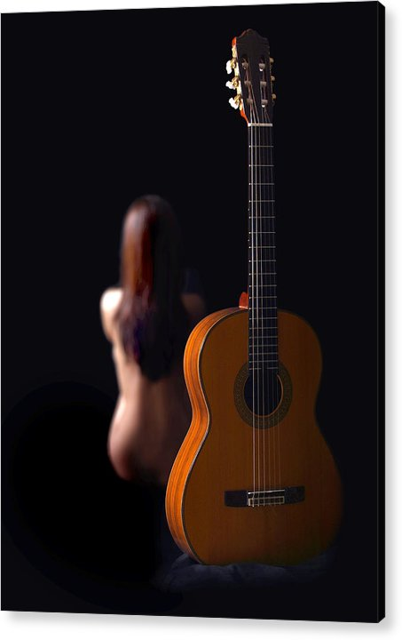 Nude Acrylic Print featuring the photograph Lady And Guitar by Dario Infini