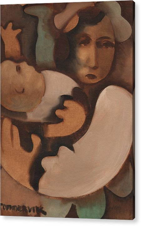 Baby Acrylic Print featuring the painting Abstract Mother And Baby Art Print by Tommervik