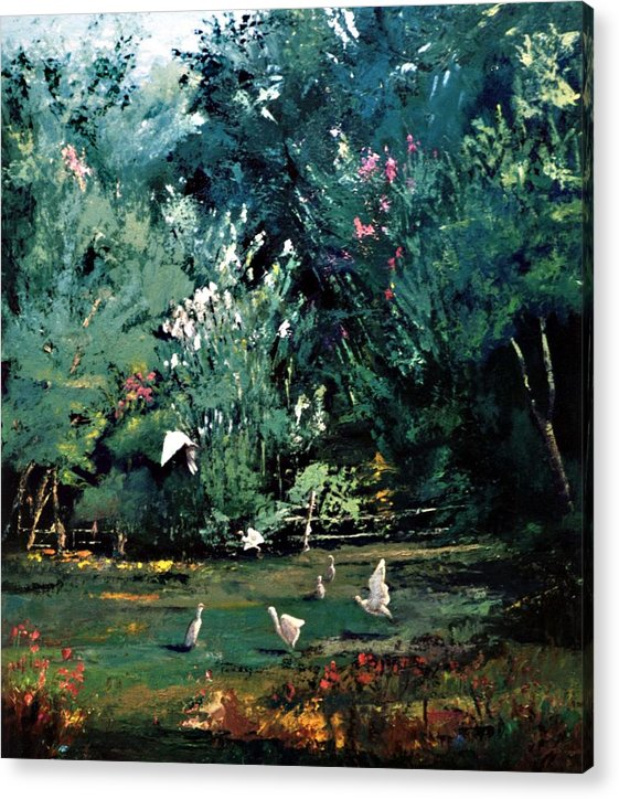 Landscape Acrylic Print featuring the painting The Egrets Have Landed by Jimmie Trotter