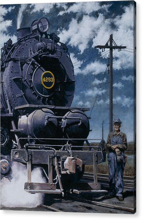 Trains Acrylic Print featuring the painting A Man and His Machine by David Mittner