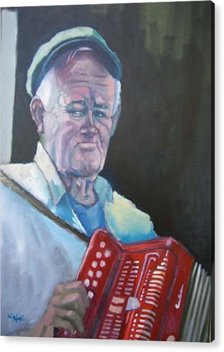 Portrait Figure Acrylic Print featuring the painting Inis Mor Accordian Player by Kevin McKrell