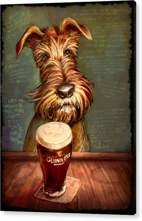 Irish Terrier Acrylic Print featuring the painting Irish Toast by Sean ODaniels