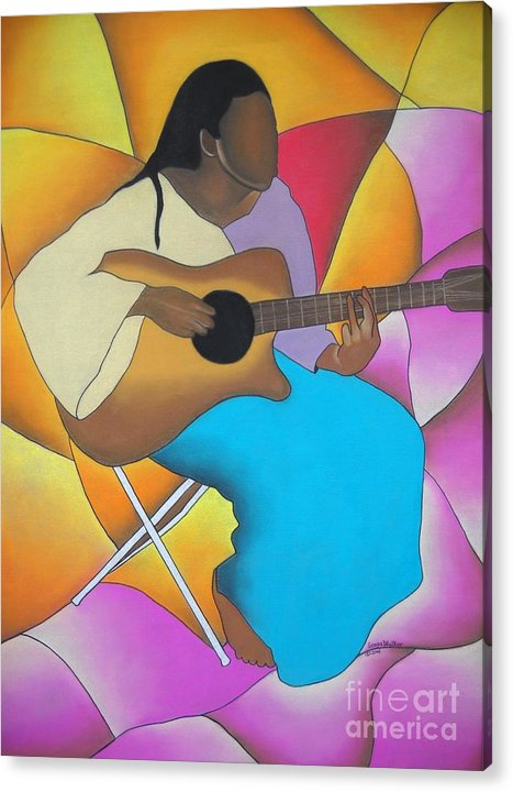 African American Art Acrylic Print featuring the drawing Guitar Player by Sonya Walker