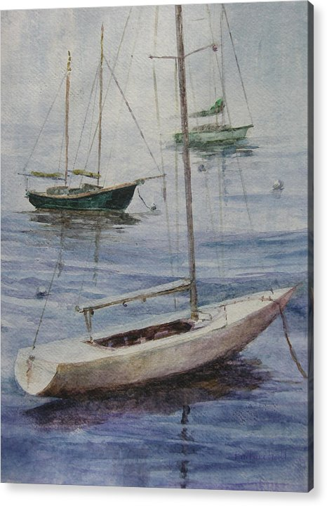 Three Sailboats At Anchor In The Fog Acrylic Print featuring the painting Peace by Barbara Field