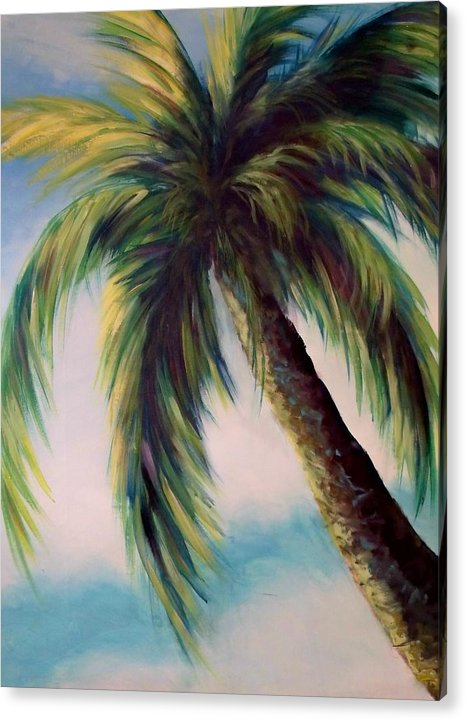 Palm Tree Acrylic Print featuring the painting Sunlit Palm by Renee Shular