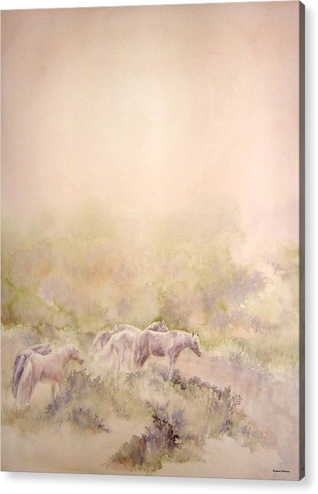 Horses Acrylic Print featuring the painting Assateague Ponies by Barbara Widmann