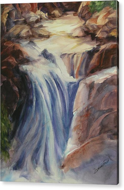 Flowing Waterfall With Its Spray Covering The Rocks Below. Acrylic Print featuring the painting Flowing Spirit by Barbara Field