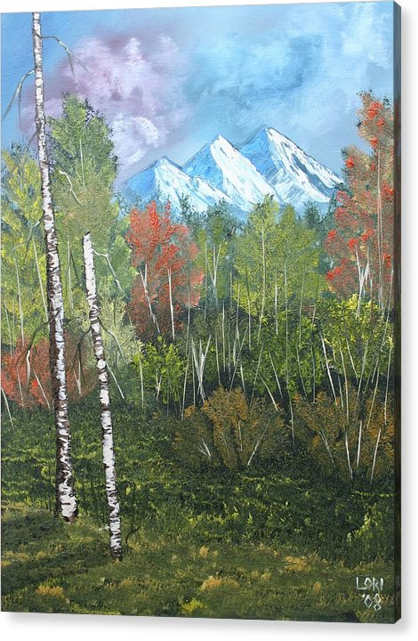 Oil Acrylic Print featuring the painting Mountain Meadow by Lori DeBruijn