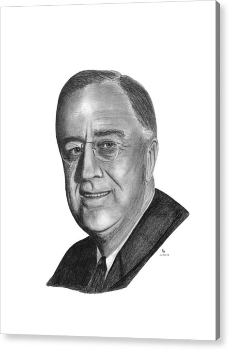 President Acrylic Print featuring the drawing President Franklin Roosevelt by Charles Vogan