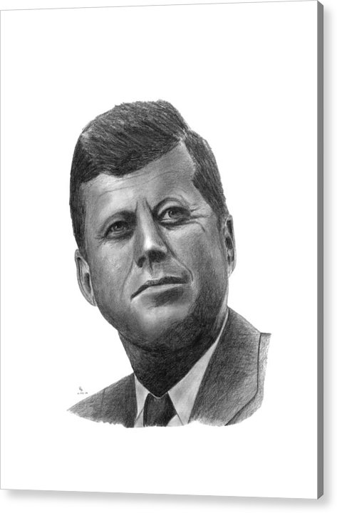 President Acrylic Print featuring the drawing President John Kennedy by Charles Vogan