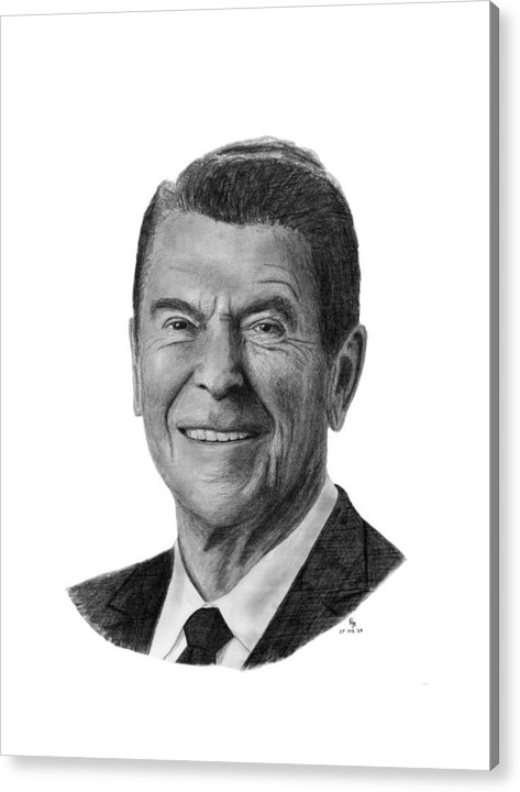 President Acrylic Print featuring the drawing President Ronald Reagan by Charles Vogan