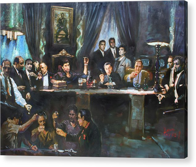 Gangsters Acrylic Print featuring the painting Fallen Last Supper Bad Guys by Ylli Haruni