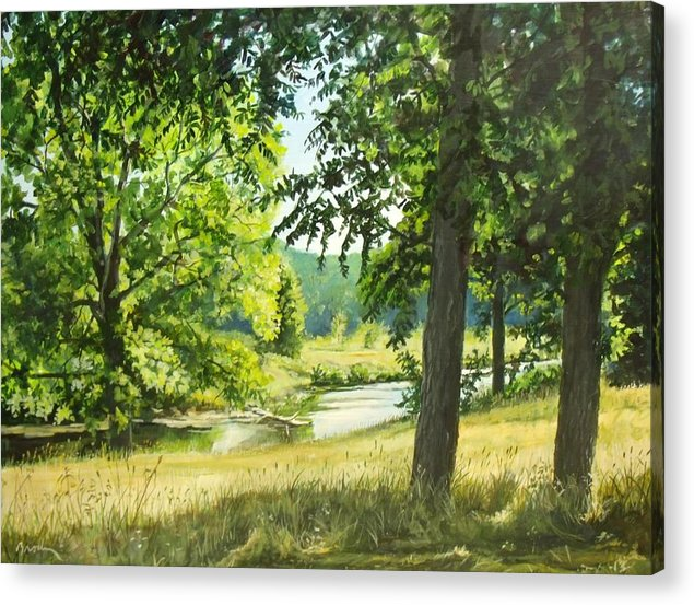 Landscape Acrylic Print featuring the painting Summer Stream by William Brody