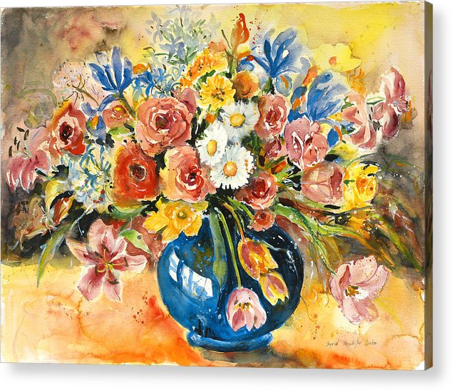 Still Life Acrylic Print featuring the painting Blue Vase by Ingrid Dohm
