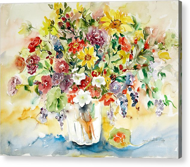 Watercolor Acrylic Print featuring the painting Arrangement III by Ingrid Dohm