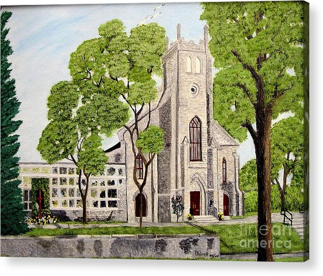 Historic Churches In Ontario Painting Acrylic Print featuring the painting St.Thomas Anglican Church Belleville Circa1821 by Peggy Holcroft
