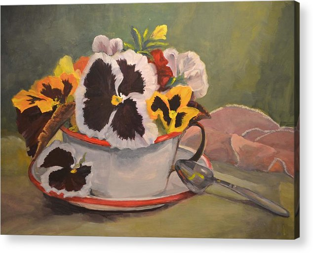 Nature Acrylic Print featuring the painting Tin Cup Pansy Tea by Jimmie Trotter