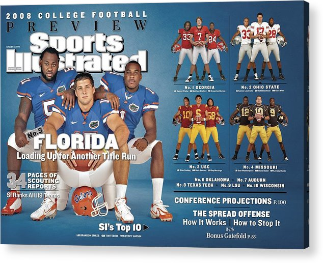 Magazine Cover Acrylic Print featuring the photograph University Of Florida, 2008 College Football Preview Issue Sports Illustrated Cover by Sports Illustrated