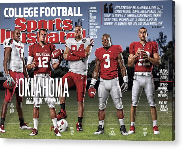 Magazine Cover Acrylic Print featuring the photograph University Of Oklahoma Qb Landry Jones, 2011 College Sports Illustrated Cover by Sports Illustrated