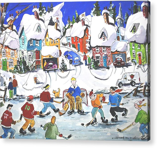 Sports Ice Hockey Children At Play Village Scene Winter Acrylic Print featuring the painting Shinney by Wilfred McOstrich