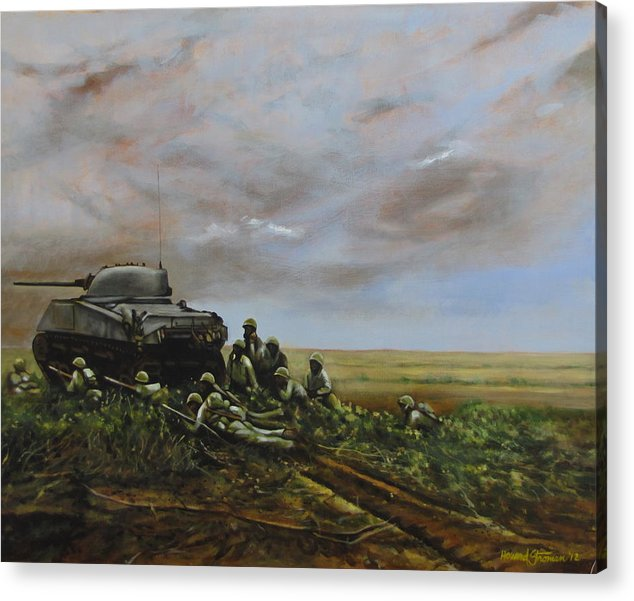World War Two; Landscape; Soldiers; Military; Us Army; Combat; Infantry; Tank; Riflemen; War Acrylic Print featuring the painting Field Of Flowers by Howard Stroman