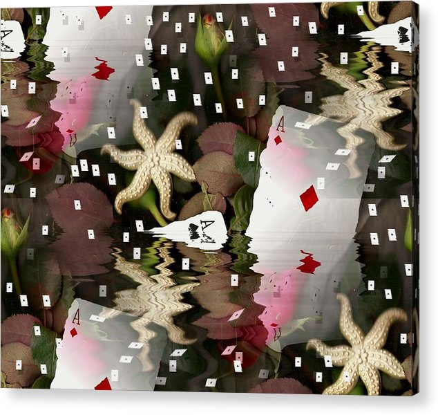 Landscape Acrylic Print featuring the mixed media Poker Pop Art All In by Pepita Selles