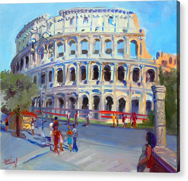 Anfiteatro Flavio Acrylic Print featuring the painting Rome Colosseum by Ylli Haruni