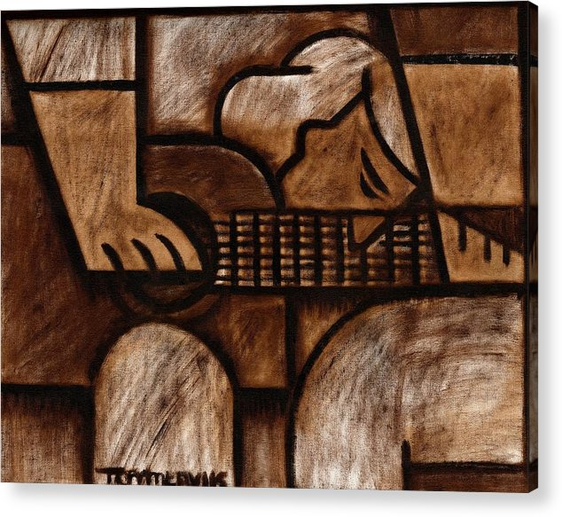 Guitar Acrylic Print featuring the painting Tommervik Man Playing Acoustic Guitar Art by Tommervik