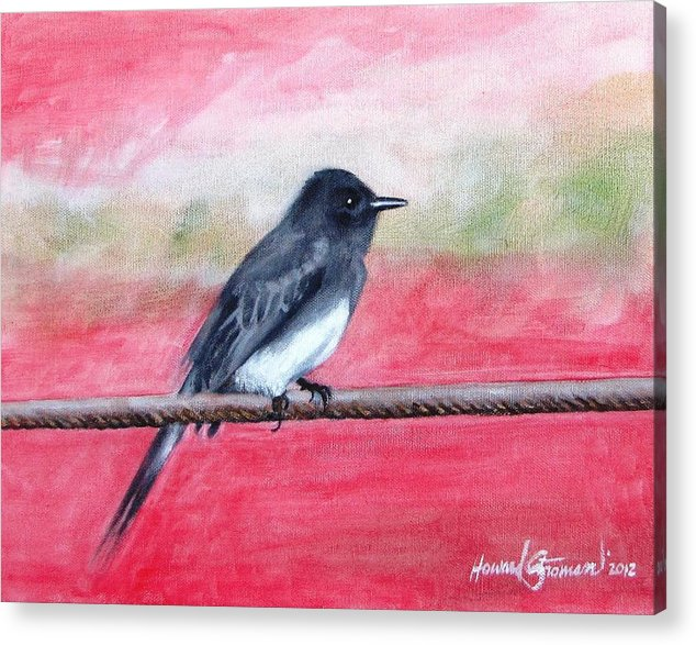 Wild Life Acrylic Print featuring the painting Black Bird by Howard Stroman