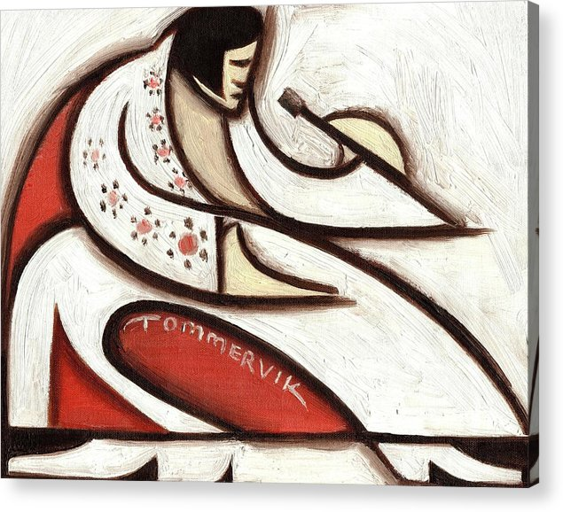 Elvis Acrylic Print featuring the painting Tommervik Elvis Red Cape Art Print by Tommervik