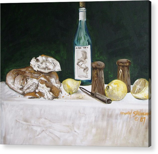 Stil Life;lemons;wine;bread;table Setting;salt;pepper;food Acrylic Print featuring the painting Bread and Wine by Howard Stroman