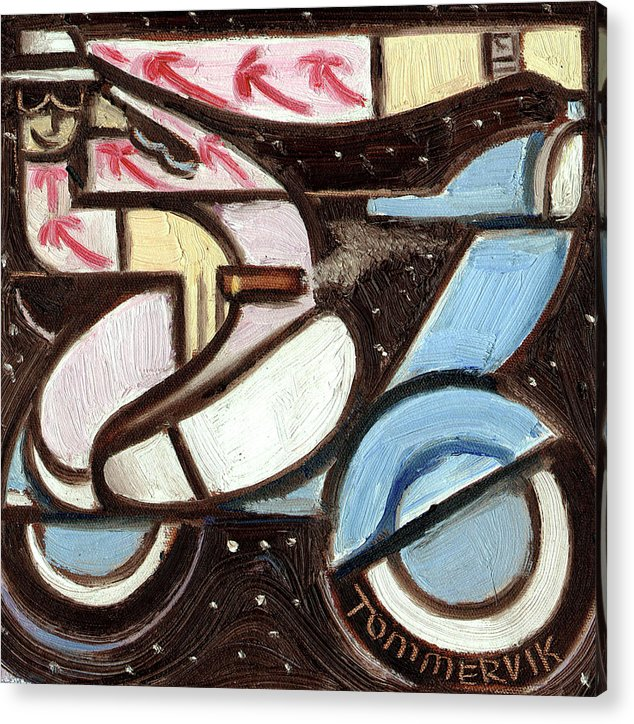 Miami Acrylic Print featuring the painting Miami Beach Man Riding A vespa in Outer Space Art Print by Tommervik