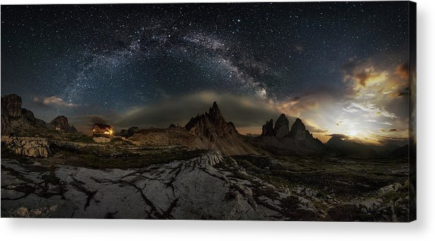 Night Acrylic Print featuring the photograph Galaxy Dolomites by Ivan Pedretti