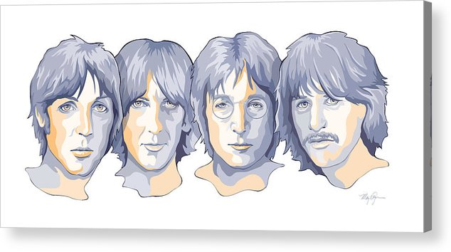 The Beatles John Lennon Paul Mccartney Ringo Star George Harrison Fab Four Pop Stars Icons Rock N Roll Music Musical British Invasion Mary Zins 1964 Sixties Acrylic Print featuring the digital art Beatles in Blues by Mary Zins
