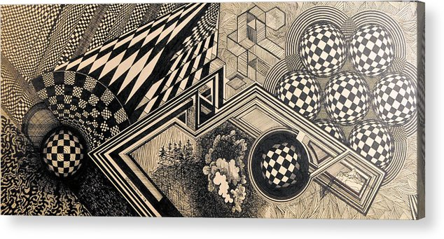 Pen&ink Acrylic Print featuring the drawing Destination Mars by Denis Gloudeman